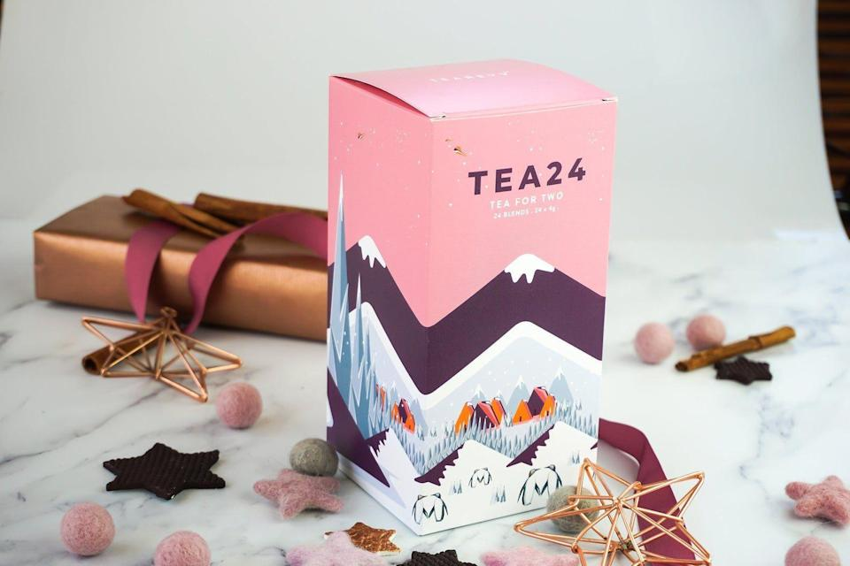 """<p><strong>TeaRevv</strong></p><p>etsy.com</p><p><strong>$29.62</strong></p><p><a href=""""https://go.redirectingat.com?id=74968X1596630&url=https%3A%2F%2Fwww.etsy.com%2Flisting%2F559499371%2F24-seasonal-tea-blends-perfect-christmas&sref=https%3A%2F%2Fwww.townandcountrymag.com%2Fleisure%2Fdrinks%2Fg13408658%2Ftea-advent-calendars%2F"""" rel=""""nofollow noopener"""" target=""""_blank"""" data-ylk=""""slk:Shop Now"""" class=""""link rapid-noclick-resp"""">Shop Now</a></p><p>Tea Revv's calendar boasts an adventurous mix of specially made flavors of loose leaf tea, including options like Vanilla Cinnabun, Candy Cane Popcorn, Ice Cream Earl Grey, and Christmas Spice.</p>"""