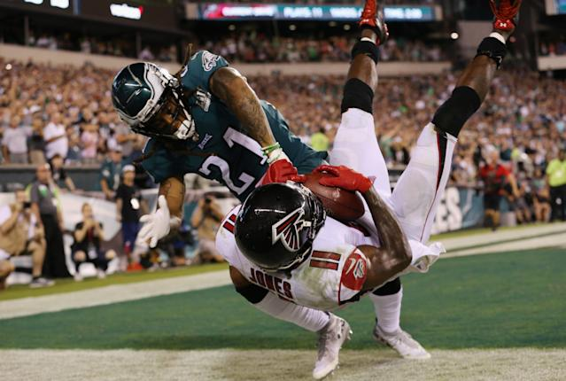 The Philadelphia Eagles held Julio Jones and the Atlanta Falcons on their final drive in Thursday's NFL opener. (Getty)