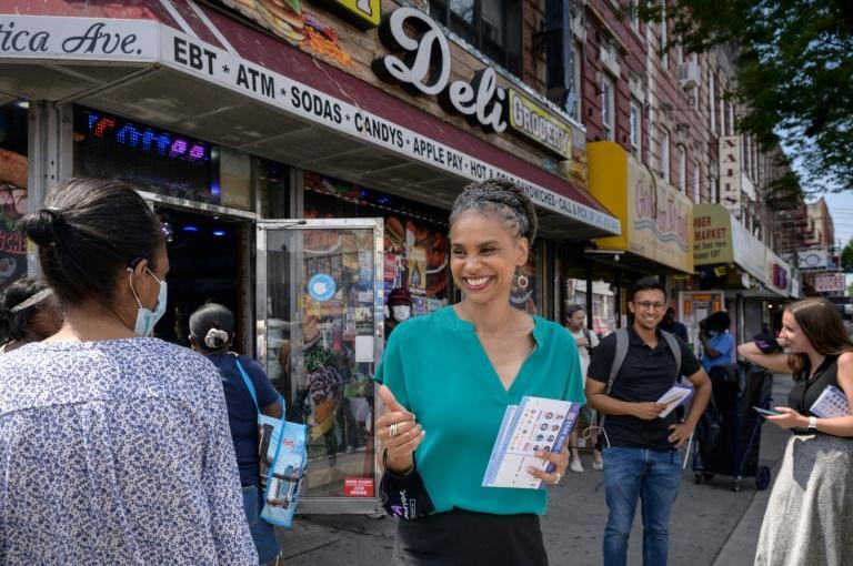 Progressive mayoral candidate for New York Maya Wiley campaigning in Brooklyn on June 21, 2021