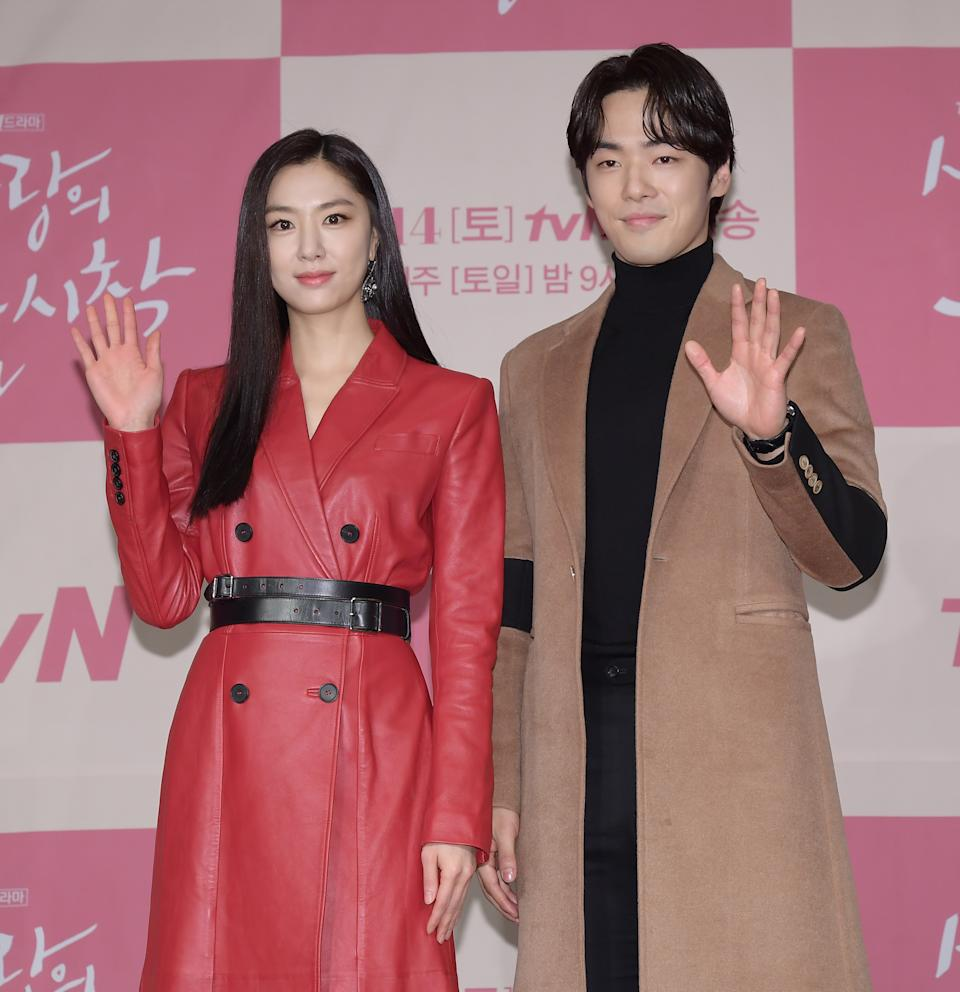 SEOUL, SOUTH KOREA - DECEMBER 09: Actress Seo Ji-Hye and actor Kim Jung-Hyun during a press conference of tvN drama 'Crashing Landing On You' at Four Seasons Hotel on December 09, 2019 in Seoul, South Korea. (Photo by The Chosunilbo JNS/Imazins via Getty Images)