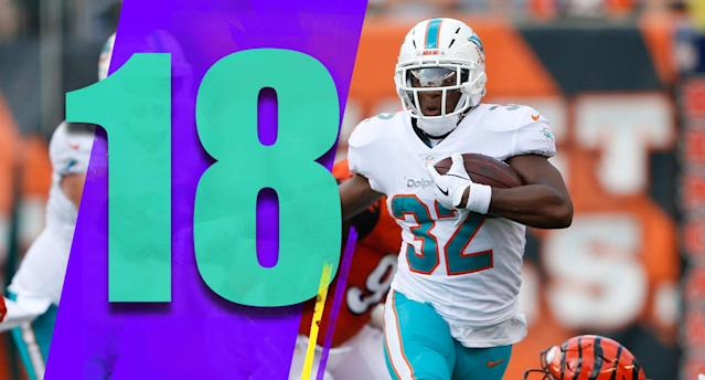 <p>Kenyan Drake had six carries Sunday, half of what Frank Gore got. Gore has been a great player, and played well Sunday too. But why does the Dolphins coaching staff refuse to give Drake an honest chance to be their featured back? It's strange. (Kenyan Drake) </p>