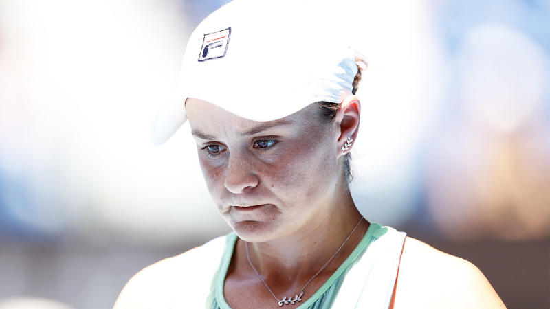 Ash Barty looking frustrated after a point.