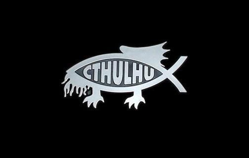 For fans of H.P. Lovecraft stories: an adhesive Cthulhu fish for the car.
