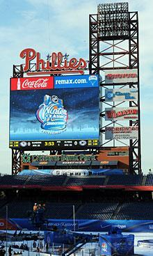 A view of the scoreboard for the 2012 Bridgestone NHL Winter Classic at Citizens Bank Park in Philadelphia