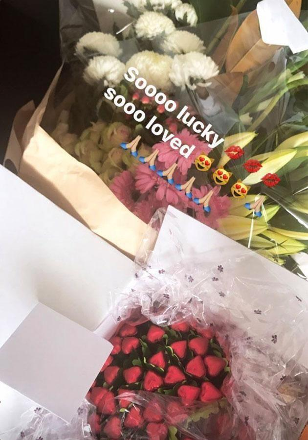 Kyle spoiled Imogen with chocolates, flowers and champagne. Photo: Instagram
