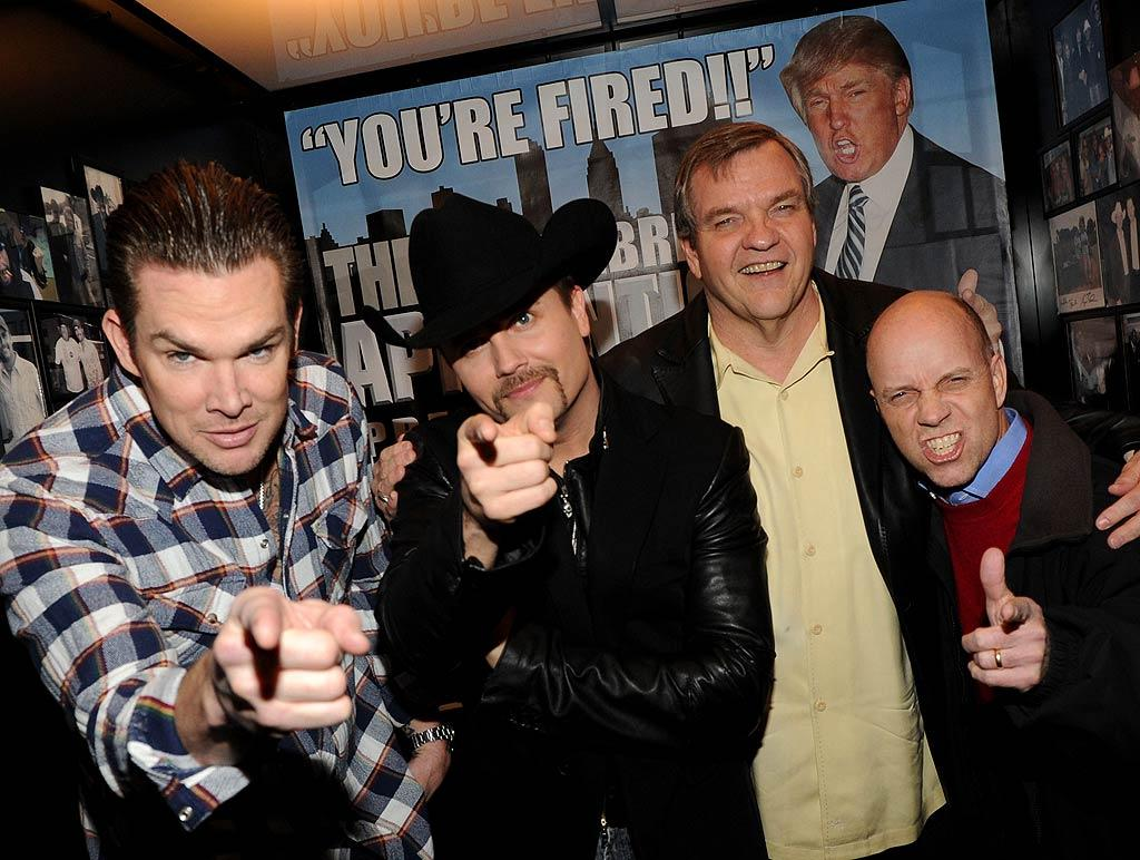 """At a bash in Nashville, new contestants Mark McGrath, John Rich, and Meat Loaf, and """"Apprentice"""" alum Scott Hamilton did their best Trump """"You're Fired"""" impression while catching the first episode. Fortunately for them, David Cassidy got the inaugural ax of the season. Rick Diamond/<a href=""""http://www.gettyimages.com/"""" target=""""new"""">GettyImages.com</a> - March 6, 2011"""