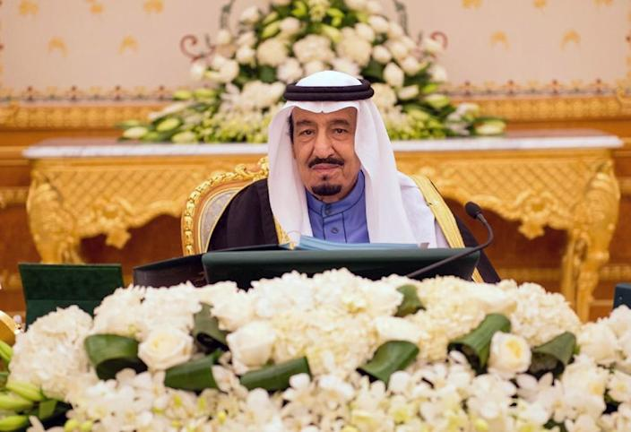 """A handout picture released by the Saudi Press Agency (SPA) on February 2, 2015 shows Saudi new King Salman bin Abdulaziz chairing the cabinet meeting in the capital, Riyadh. King Salman on January 29, 2015 further cemented his hold on power, with a sweeping shakeup that saw two sons of the late King Abdullah fired, and the heads of intelligence and other key agencies replaced alongside a cabinet shuffle. AFP PHOTO/HO/SPA === RESTRICTED TO EDITORIAL USE - MANDATORY CREDIT """"AFP PHOTO / HO / SPA"""" - NO MARKETING NO ADVERTISING CAMPAIGNS - DISTRIBUTED AS A SERVICE TO CLIENTS ==== (AFP Photo/)"""