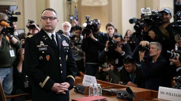 PHOTO: National Security Council Director for European Affairs Lt. Col. Alexander Vindman arrives to testify before the House Intelligence Committee in the Longworth House Office Building on Capitol Hill Nov. 19, 2019 in Washington, D.C. (Drew Angerer/Getty Images)