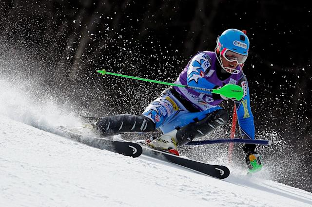 KRANJSKA GORA, SLOVENIA - MARCH 11: (FRANCE OUT) Ted Ligety of the USA competes during the Audi FIS Alpine Ski World Cup Men's Slalom on March 11, 2012 in Kranjska Gora, Slovenia. (Photo by Stanko Gruden/Agence Zoom/Getty Images)