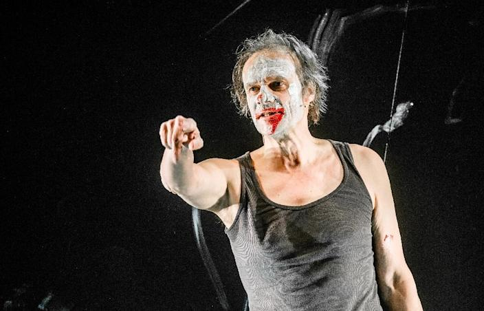 German actor Edgar Selge in the role of 'Francois', seen during a rehearsal of the stage adaptation of French author Michel Houellebecq's novel 'Submission', at the Deutsches Schauspielhaus theatre in Hamburg, northern Germany (AFP Photo/Markus Scholz)