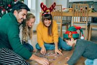 """<p>Every good <a href=""""https://www.oprahmag.com/life/g29528415/christmas-party-theme-ideas/"""" rel=""""nofollow noopener"""" target=""""_blank"""" data-ylk=""""slk:Christmas party"""" class=""""link rapid-noclick-resp"""">Christmas party</a> has a recipe for success: great company, a stellar <a href=""""https://www.oprahmag.com/life/food/g33628278/christmas-party-food-ideas/"""" rel=""""nofollow noopener"""" target=""""_blank"""" data-ylk=""""slk:holiday meal"""" class=""""link rapid-noclick-resp"""">holiday meal</a>, <a href=""""https://www.oprahmag.com/entertainment/g29154178/best-christmas-songs/"""" rel=""""nofollow noopener"""" target=""""_blank"""" data-ylk=""""slk:familiar tunes"""" class=""""link rapid-noclick-resp"""">familiar tunes</a>, and a whole lot of cheer. And since one can only eat and drink so much, it's a nice idea to play some fun Christmas party games and activities to add to the merriment. </p><p>We can hear the groans already, but before you roll your eyes<em>, </em>hear us out: Party games aren't just for kids. Whether you're hosting an office party for a large group, a small family gathering, or even an online shindig, there are plenty of enjoyable options for both children and adults. Take the oven mitt challenge, for example. Your competitive side is bound to rear its head when you're desperately trying to crack open the present before your turn comes to an abrupt end. Or, the adults-only <a href=""""https://www.oprahmag.com/entertainment/tv-movies/a33393832/hallmark-christmas-movie-2020-schedule/"""" rel=""""nofollow noopener"""" target=""""_blank"""" data-ylk=""""slk:Hallmark movie"""" class=""""link rapid-noclick-resp"""">Hallmark movie</a> drinking game—a fun activity that ups the stakes of an innocent movie marathon. </p><p>No matter which game you choose to play, one thing's for sure: This will be a Christmas you won't soon forget. (And, no, not just because it's been a very strange year.)</p>"""