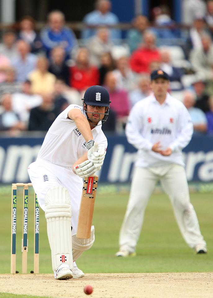 England's Alastair Cook bats during day three of the International Warm up match at The County Ground, Chelmsford.