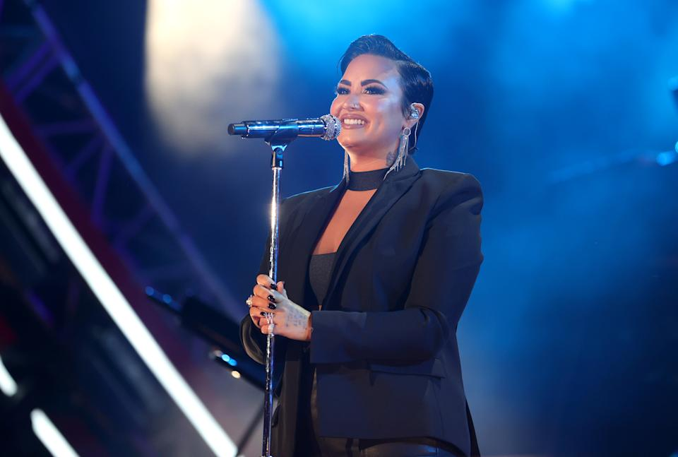 LOS ANGELES, CALIFORNIA - SEPTEMBER 25: Demi Lovato performs onstage during Global Citizen Live on September 25, 2021 in Los Angeles, California. (Photo by Rich Fury/Getty Images for Global Citizen)