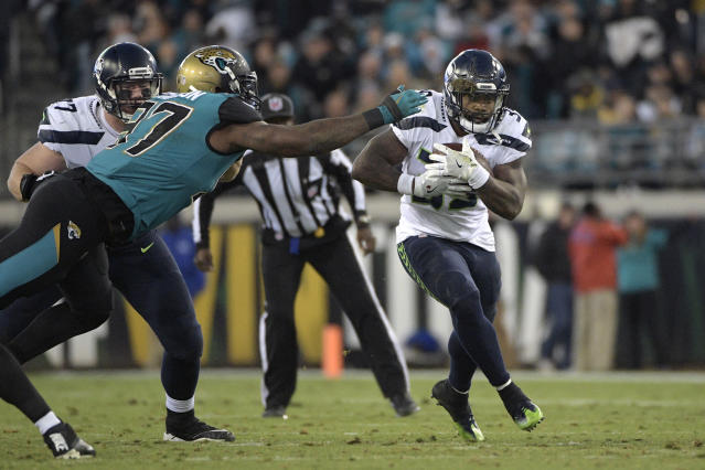 Mike Davis delivered a quality performance in Week 9, playing in relief of an injured Chris Carson. (AP Photo/Phelan M. Ebenhack)