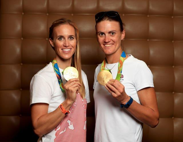 Great Britain's Helen Glover (left) and Heather Stanning pose with the Olympic gold medals they won in Rio in 2016