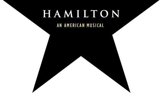 """Black star, """"'Hamilton' An American Musical"""" printed in white in center of star."""