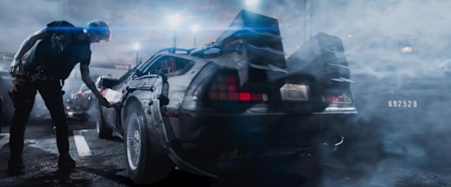 Marty McFly's DeLorean from <em>Back to the Future</em> is a major presence in <em>Ready Player One</em>. (Photo: Warner Bros. Pictures/Courtesy Everett Collection)