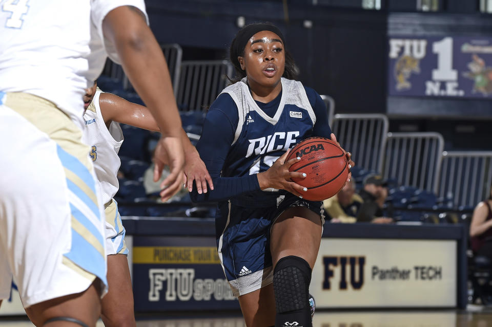 Rice guard Erica Ogwumike (13) handles the ball in the first half as the Rice University Owls faced the FIU Golden Panthers, on January 11, 2020, at the Ocean Bank Convocation Center in Miami, Florida. (Photo by Samuel Lewis/Icon Sportswire via Getty Images)