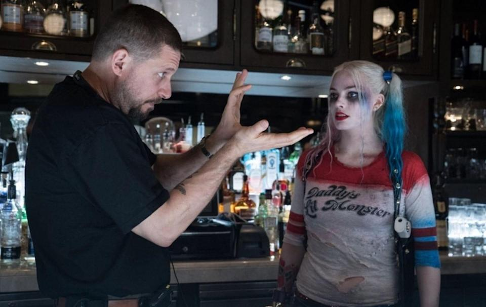 """A picture of David Ayer with Margot Robbie on the set of """"Suicide Squad."""""""