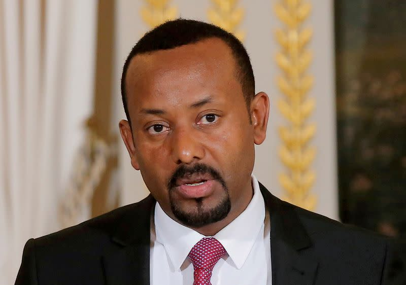 FILE PHOTO: Ethiopian Prime Minister Abiy Ahmed speaks during a media conference at the Elysee Palace in Paris