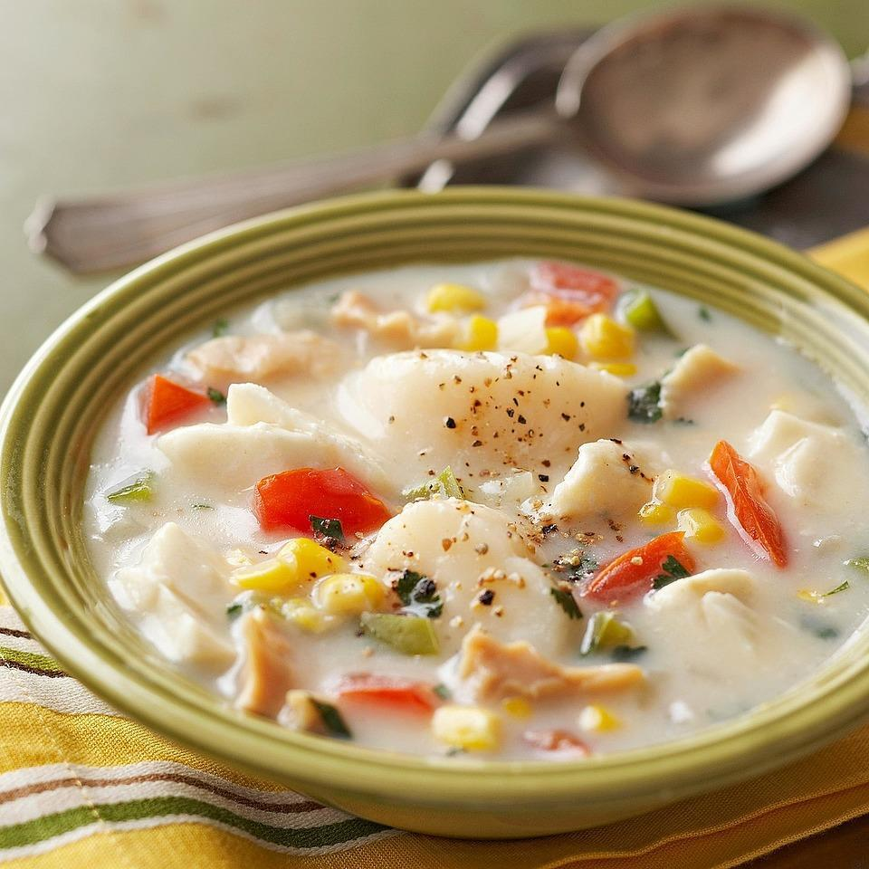 <p>The addition of halibut, scallops and clams turns ordinary corn chowder into an extraordinary meal-in-a-bowl.</p>