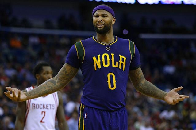 "<a class=""link rapid-noclick-resp"" href=""/nba/players/4720/"" data-ylk=""slk:DeMarcus Cousins"">DeMarcus Cousins</a> does not agree with Vlade Divac's call. (Getty Images)"