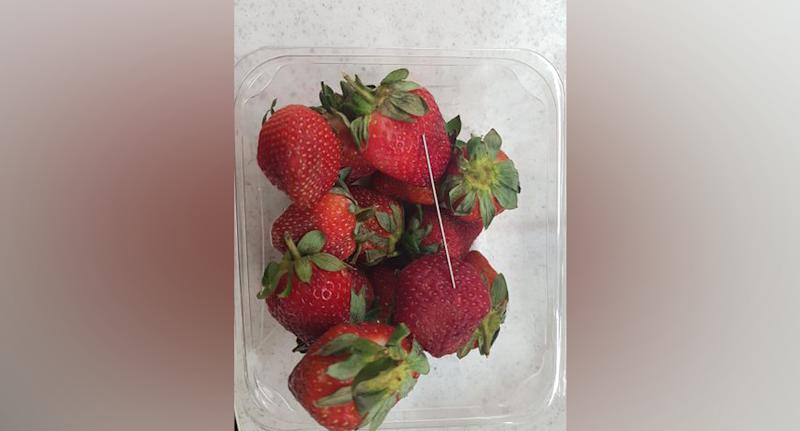 A contaminated strawberry found in Australia earlier this month (pictured)
