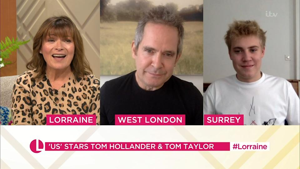 Lorraine Kelly speaks to Toms Hollander and Taylor about their show, Us (Photo: ITV/Shutterstock)