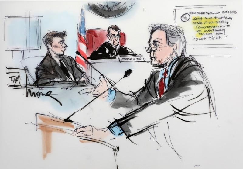 Plaintiff attorney L. Lin Wood is shown with Elon Musk and Judge Stephen Brown looking on, in a courtroom drawing during the trial in a defamation case filed by British cave diver Vernon Unsworth against Musk, in Los  Angeles