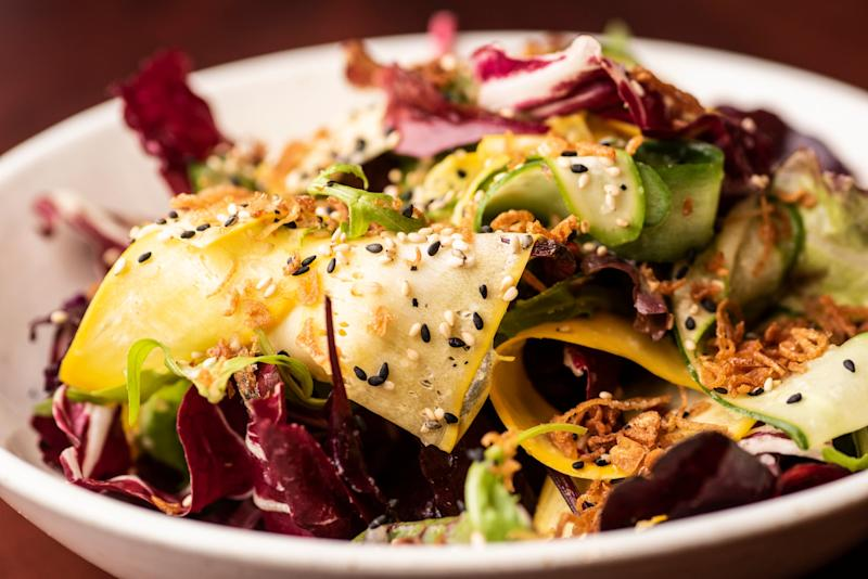 Inconsistent: The mizuna and bitter leaf salad initially impresses, but is a different pile-up on a second order (Daniel Hambury/@stellapicsltd)