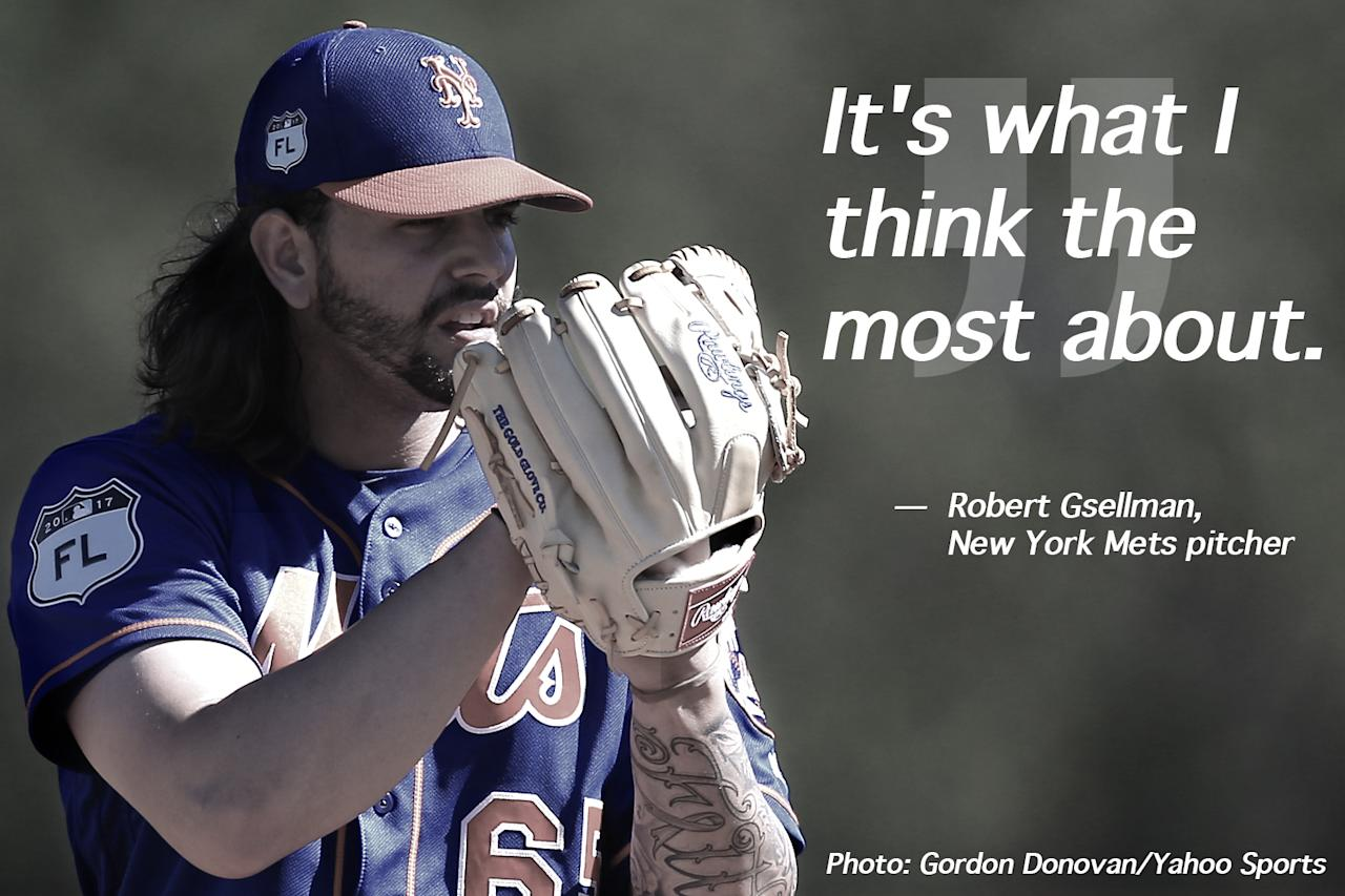 <p>New York Mets pitching prospect Robert Gsellman gets set to fire a pitch during a live bullpen at at the Mets Spring Training Complex in Port St. Lucie, Fl., Saturday, Feb 25, 2017. (Gordon Donovan/Yahoo Sports) </p>