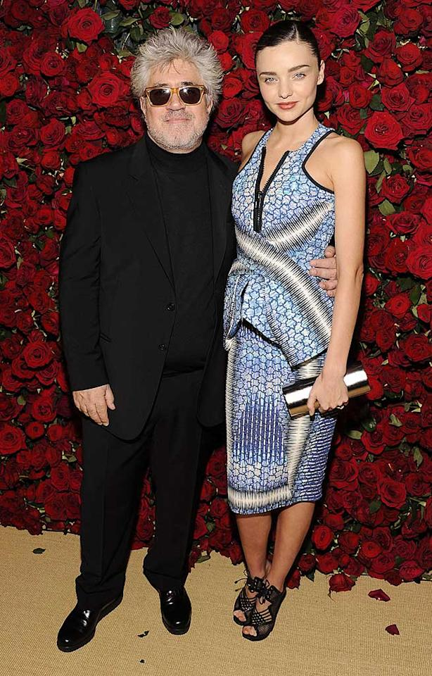 The night's honoree, Spanish director Pedro Almodovar, buddied up with Victoria's Secret model Miranda Kerr -- in a busy Peter Pilotto frock -- on the red carpet. (11/15/2011)