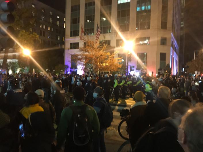 Two blocks from the DC Watch Party at McPherson Square, bicycle police swarm into the Black Lives Matter area in reaction to a disturbance caused by a single man. (Photo by Michael O'Connell/Patch)