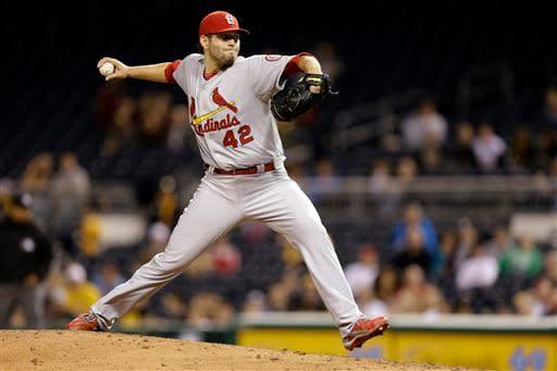 St. Louis Cardinals starting pitcher Lance Lynn delivers during the third inning of a baseball game against the Pittsburgh Pirates in Pittsburgh Monday, April 15, 2013. (AP Photo/Gene J. Puskar)