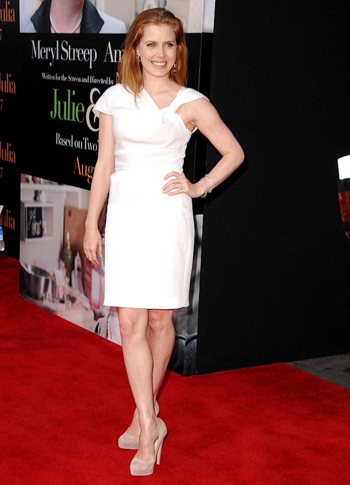 """Love us some Amy Adams. Hate that her bra strap was showing and that she didn't bother to wash her hair before hitting the red carpet at the """"Julie & Julia"""" premiere. Steve Granitz/<a href=""""http://www.wireimage.com"""" target=""""new"""">WireImage.com</a> - July 27, 2009"""