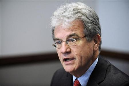 Tom Coburn (R-OK) addresses the Reuters Washington Summit in the Reuters newsroom in Washington