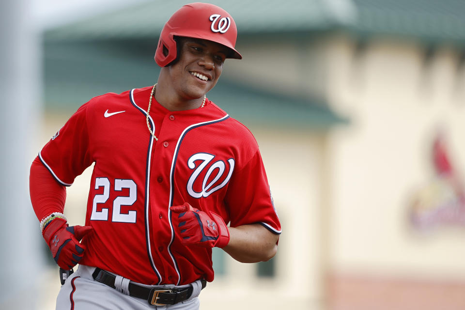 JUPITER, FL - FEBRUARY 25: Juan Soto #22 of the Washington Nationals rounds the bases after hitting a two-run home run in the third inning of a Grapefruit League spring training game against the St Louis Cardinals at Roger Dean Stadium on February 25, 2020 in Jupiter, Florida. (Photo by Joe Robbins/Getty Images)