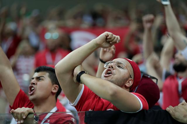Soccer Football - World Cup - Group G - Tunisia vs England - Volgograd Arena, Volgograd, Russia - June 18, 2018 Tunisia fans inside the stadium before the match REUTERS/Ueslei Marcelino