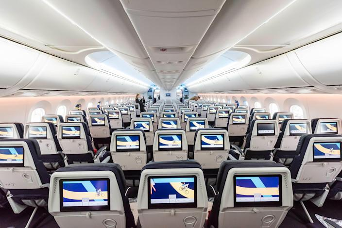 The interior of a new Air France Boeing 787 Dreamliner.