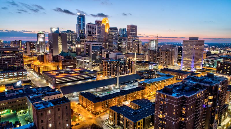 The downtown Minneapolis skyline at sunset. (Gian Lorenzo Ferretti Photography via Getty Images)