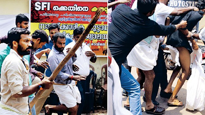 SFI Activists Assault Cop in Front of Police Station in Idukki