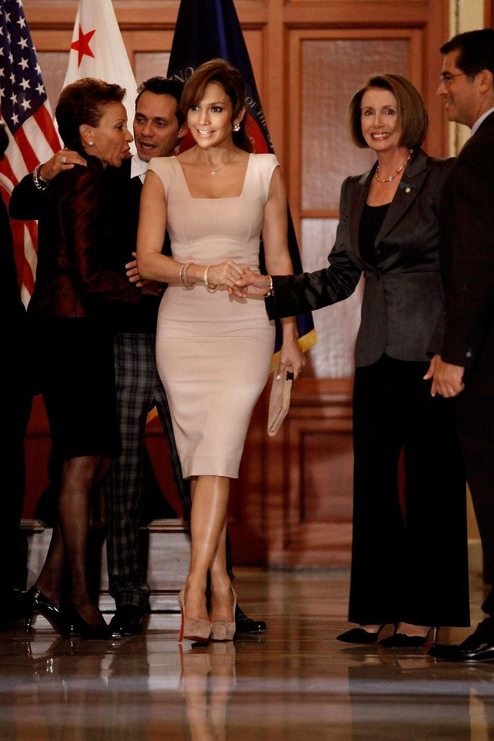 <p>Pelosi meets with Jennifer Lopez at the U.S. Capitol to discuss education in the Latino community.</p>