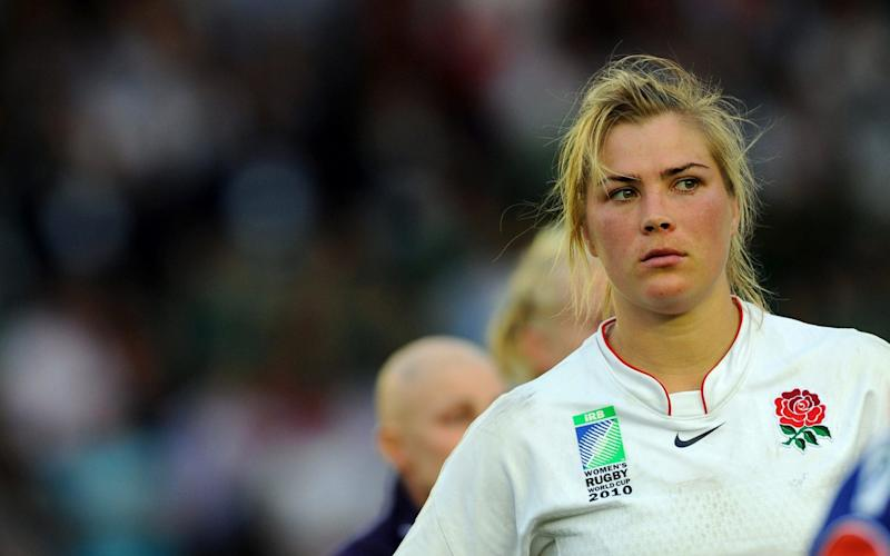 Catherine Spencer following England's defeat in the 2010 Women's Rugby World Cup final - AFP