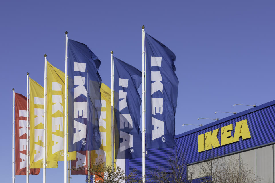 Flags outside the Ikea store in Barkarby outside Stockholm, Sweden.