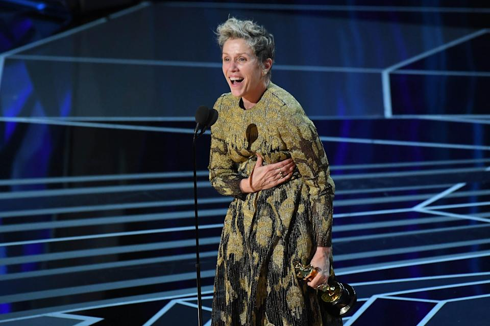 """Frances McDormand won her second best actress Oscar in 2018 for """"Three Billboards Outside Ebbing, Missouri."""""""