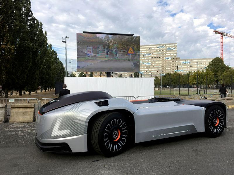 FILE PHOTO: A self-driving Volvo electric truck withno cab called Vera is seen during a presentation in Berlin