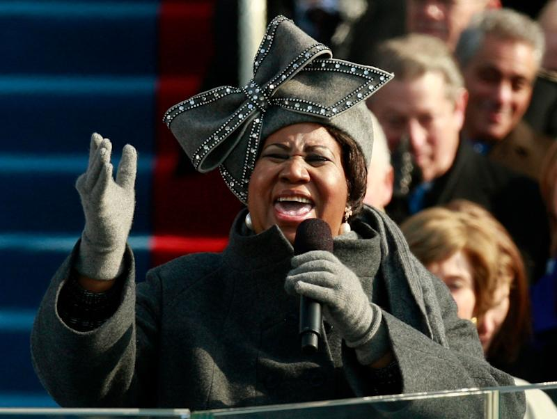 The jeweled hat Franklin wore during President Barack Obama's first inauguration earned its own celebrity status. (Photo: Jason Reed/Reuters)