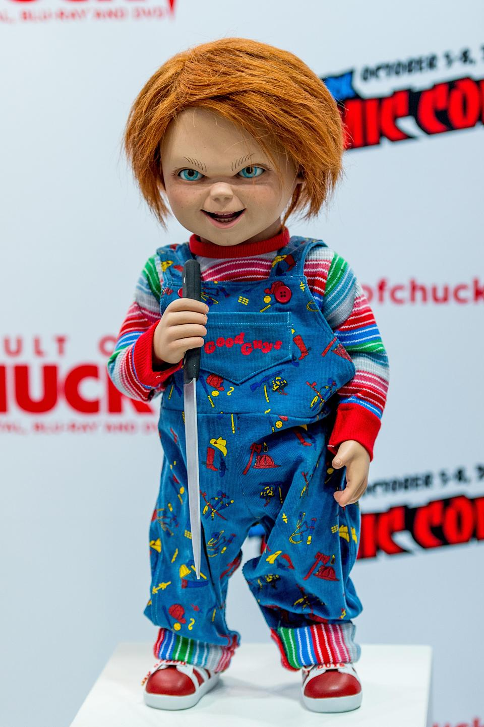 NEW YORK, NY – OCTOBER 05: Chucky from Child's Play merchandise on display during 2017 New York Comic Con – Day 1 on October 5, 2017 in New York City. (Photo by Roy Rochlin/Getty Images)