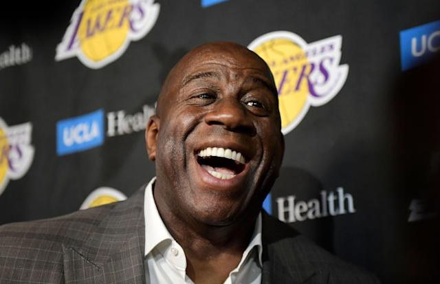 "Magic Johnson was all smiles when he shockingly left the <a class=""link rapid-noclick-resp"" href=""/nba/teams/la-lakers/"" data-ylk=""slk:Lakers"">Lakers</a> last month. (AP)"