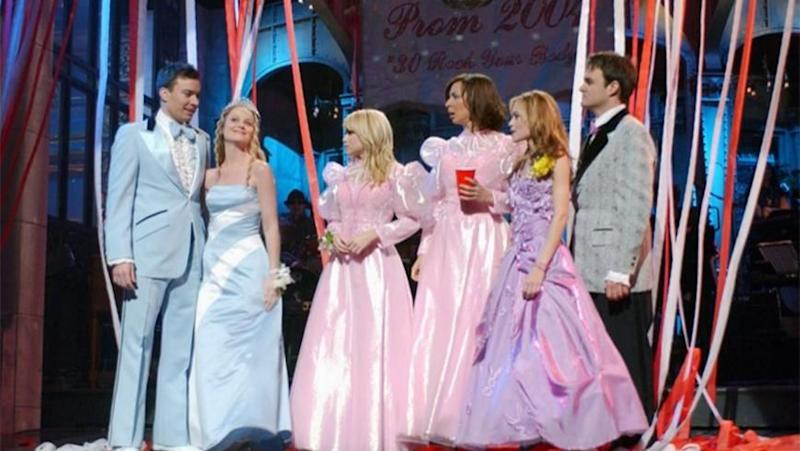 A scene from the Olsen twins' prom-themed SNL skit in 2004. Photo: Getty